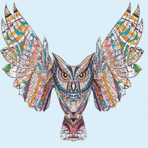 búho alas abiertas