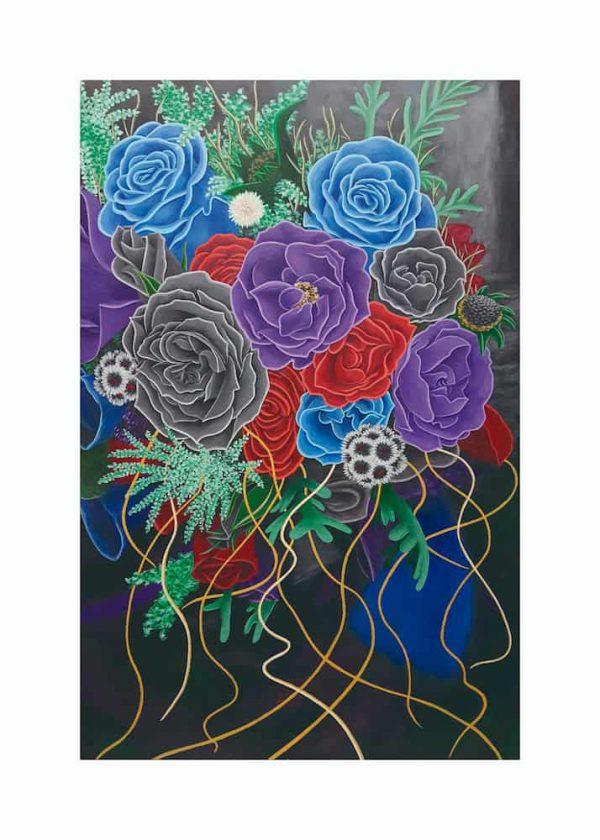 flores pintadas con margen, De artista