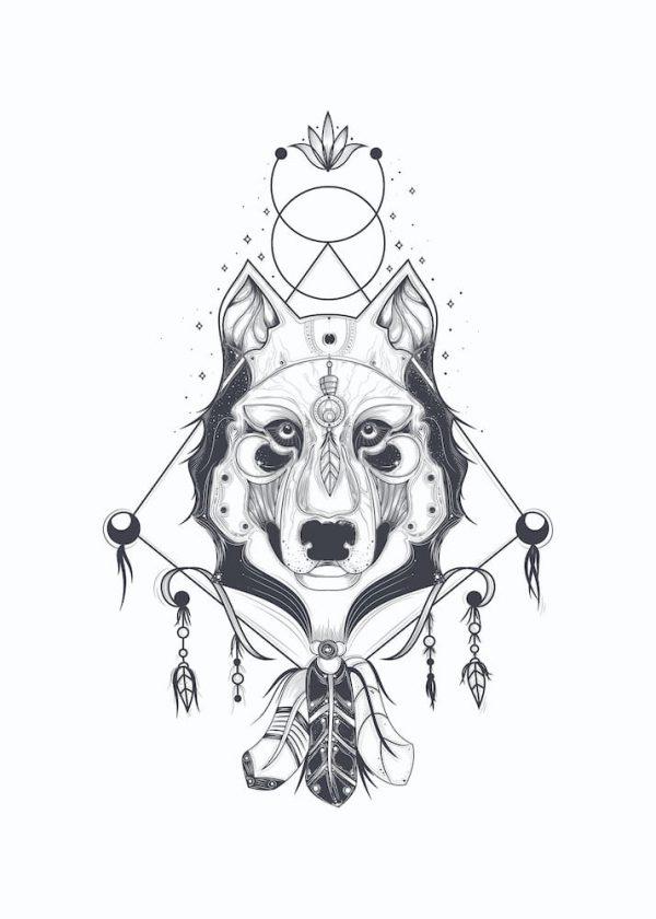 Ilustración LOBO (diseño 2), con margen