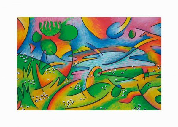 Pintura PAISAJE ABSTRACTO / con margen / De artista