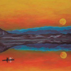 Pintura LAGO Y CIELO ANARANJADO / De artista
