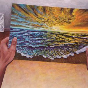 Pintura MANOS Y PLAYA, / De artista