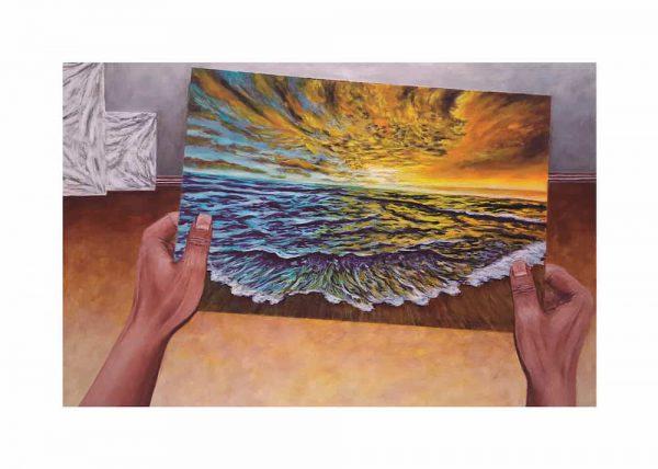 Pintura MANOS Y PLAYA, / De artista / Con margen