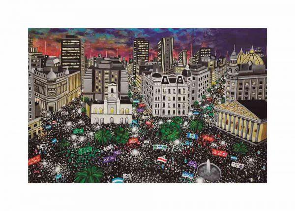 Pintura MARCHA PLAZA DE MAYO, / De artista / Con margen