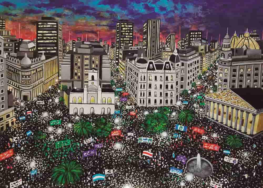 Pintura MARCHA PLAZA DE MAYO, / De artista
