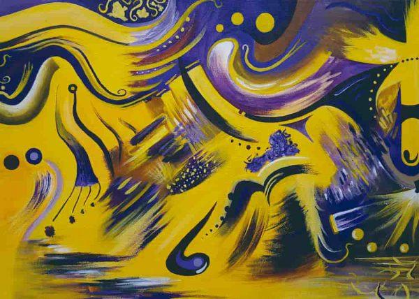 Pintura ABSTRACTO AMARILLO, sin margen