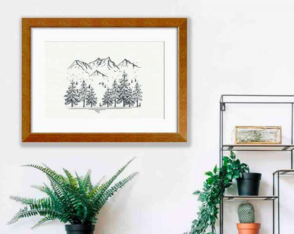 Árboles Montañas Linea, Barnizado / con margen