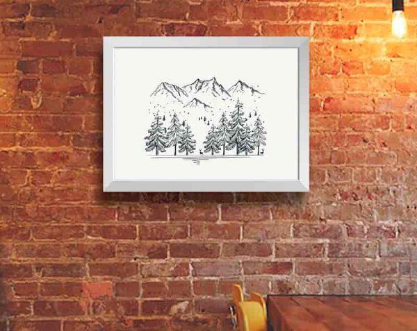 Árboles Montañas Linea, Blanco / Sin margen