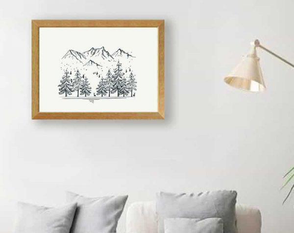 Árboles Montañas Linea, Natural / Sin margen