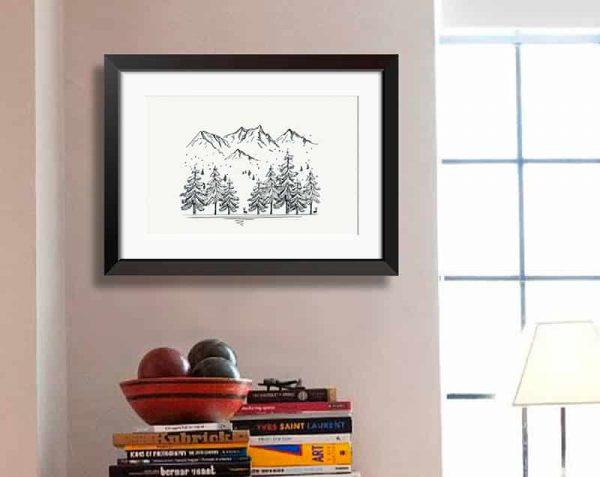 Árboles Montañas Linea, Negro / Con margen
