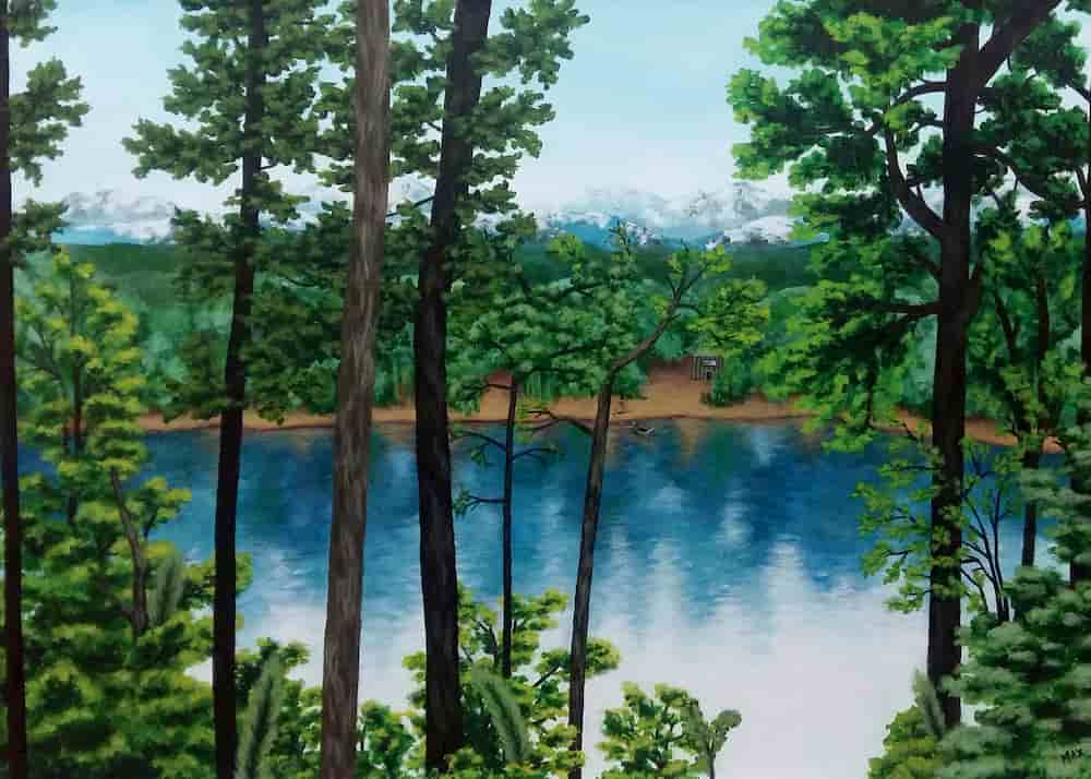 Pintura Lago azul