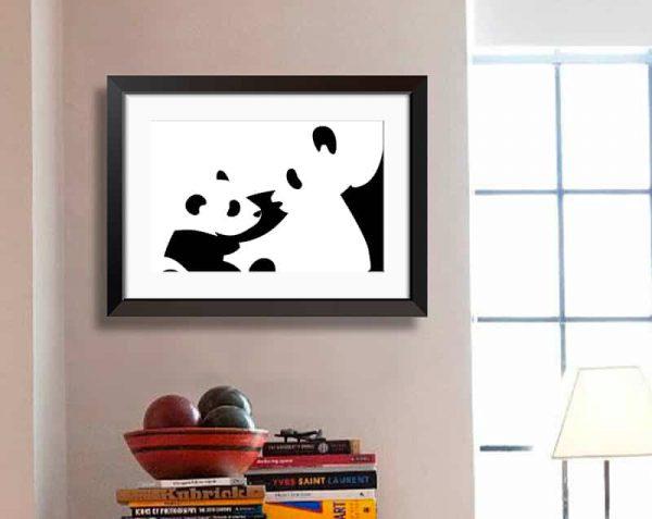 Pandas, Negro / Con margen
