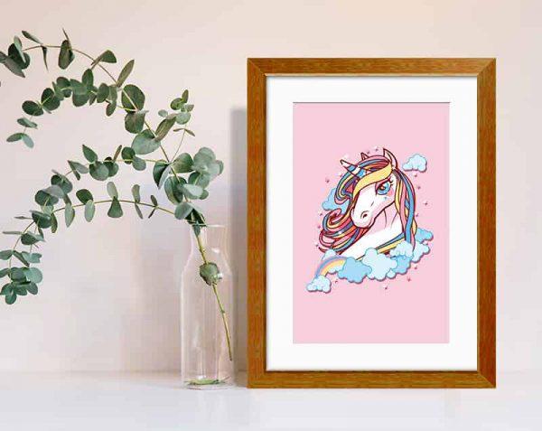 Unicornio Rosa, Barnizado / con margen