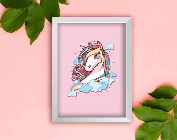 Unicornio Rosa, Blanco / Sin margen