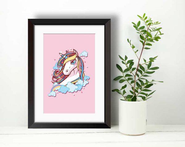 Unicornio Rosa, Negro / Con margen